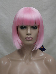 Quality Synthetic Hair Light Pink Anime Cosplay Costume Short BOB Wig