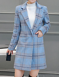 Women's Going out Simple Trench CoatPlaid Notch Lapel Long Sleeve Winter Blue / Pink Wool / Polyester Thick