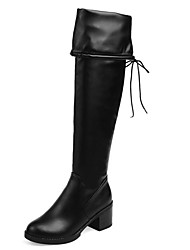 Women's Shoes Chunky Heel Round Toe Lace Up Over The Knee Boot More Color Available