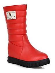 Women's Boots Comfort PU Casual Comfort White Black Ruby Flat