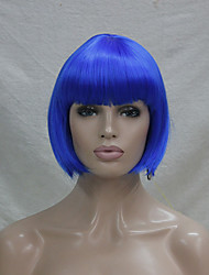 Quality Synthetic Hair Blue Anime Cosplay Costume Short BOB Wig