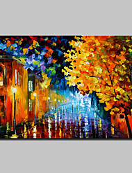 Hand-Painted Modern Abstract Knife Street View Oil Painting On Canvas Wall Art For Home Decoration Ready To Hang
