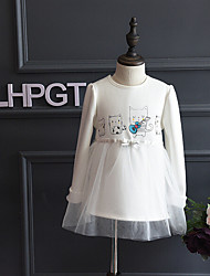 Girl's Casual/Daily Print DressCotton / Rayon Winter / Spring / Fall Pink / White