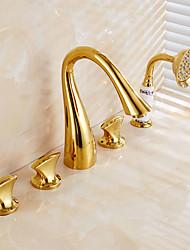 antiguidade ti-pvd cinco buracos três alças cachoeira torneira da banheira com chuveiro de mão