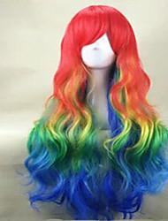 muticolor perruque cosplay costume long résistant à la perruque de partie de la chaleur arc synthétique ondulée