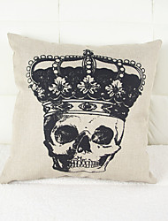 Halloween Crown Skull Head Drawing Linen Decorative Throw Pillow Case Cushion Cover