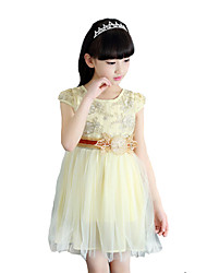 Girl's Casual/Daily Solid Dress,Cotton Blend Summer Short Sleeve