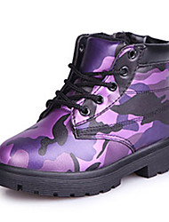 Boy's Boots Fall / Winter Comfort PU Dress / Casual Flat Heel Zipper Green / Purple / Red Walking