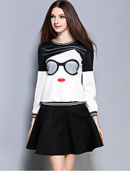 Women's Casual/Daily Street chic Skirt Suits,Color Block Round Neck Long Sleeve White Polyester