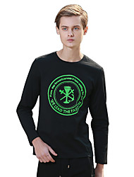 Masculino Camiseta Algodão Estampado / Letra Manga Comprida Casual-Preto