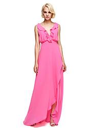 LAN TING BRIDE Asymmetrical V-neck Bridesmaid Dress - Elegant Sleeveless Georgette
