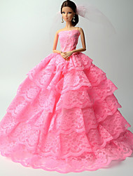 Princess Dresses For Barbie Doll Pink Lace Dresses