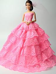 Princesa Vestidos Para Barbie Doll Rosa Rendas Vestidos