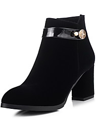 Women's High Heels Solid Pointed Closed Toe Frosted Zipper Boots