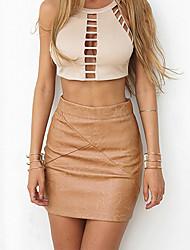 Damen Röcke,Bodycon einfarbigAusgehen / Lässig/Alltäglich Street Schick Hohe Hüfthöhe Mini Reisverschluss PU Micro-elastischHerbst /