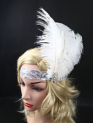 Women's Feather / Rhinestone / Sequins Headpiece-Special Occasion Party Elasticity Headband Flowers 1 Piece White