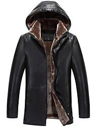 Vestes en Cuir Hommes,Couleur Pleine Décontracté / Quotidien / Grandes Tailles simple Manches Longues Noir / Marron Cuirs Particuliers