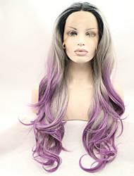 sylvia dentelle synthétique avant perruque racines noires perruques synthétiques purple trois tons cheveux chaleur cheveux ombre résistant