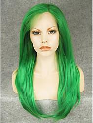 drag queen perucas reta perucas verdes da frente 24inch densidade pesada laço suíço aquecer sintética resistente