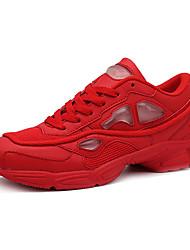 Femme-Décontracté / Sport-Noir / Rouge / Blanc-Talon Plat-Confort-Sneakers-Tulle / Polyuréthane