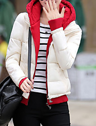 Women's Regular Padded Coat,Simple Casual/Daily Solid-Polyester Polypropylene Long Sleeve Hooded Multi-color