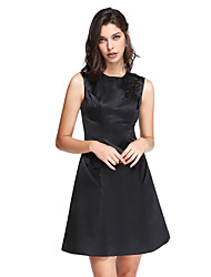 TS Couture Cocktail Party Prom Dress - Little Black Dress A-line Jewel Short / Mini Satin with Appliques Pockets Sequins