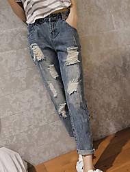Femme Couleur Pleine Effiloché Legging,Coton