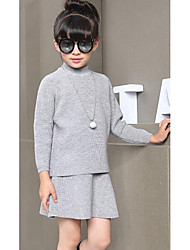 Girl's Casual/Daily Solid Sweater & CardiganWool Winter / Spring / Fall Black / Pink / Gray