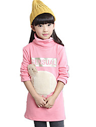 Girl's Wild High Neck Cartoon Animal Print Fleece Lined Thickness Hoodie Long Bottom Tee