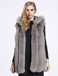 BF-Fur Style  Women's Casual/Daily Sophisticated Fur CoatSolid Hooded Long Sleeve Winter White / Black / Gray Fox Fur