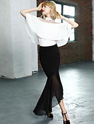 Damen Röcke - Einfach Knielang Nylon Unelastisch