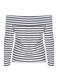 Damen Gestreift Einfach Ausgehen / Lässig/Alltäglich T-shirt,Bateau Herbst / Winter Langarm Weiß Baumwolle Mittel