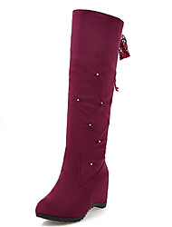 Women's Shoes Wedge Heel Round Toe Lace Up Mid Calf Boot More Color Available