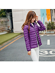 Women's Down Coat,Simple Casual/Daily Solid-Nylon White Duck Down Long Sleeve Blue / Black / Purple