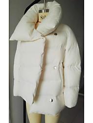Пальто Простое Пуховик Женский,Однотонный На каждый день Полиэстер Пух белой утки,Длинный рукав Розовый / Белый