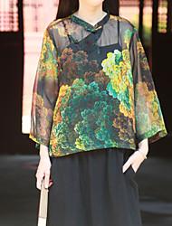 Feminino Camisa Casual Simples Primavera / Verão,Estampado Preto Outros Colarinho Chinês Manga ¾ Leve Transparência