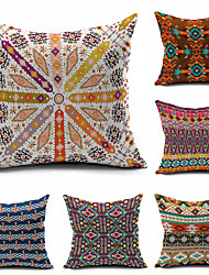 6 pcs Kilim Tribal Throw Case Cotton Linen Decorative 2 Sides Printing Modern Contemporary Pillow Cover