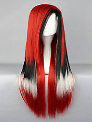 80cm Lolita Style  Long Straight Hair Color Mixed Red Cosplay Wigs