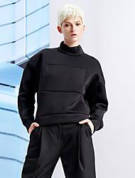 Damen Standard Hoodies-Ausgehen / Lässig/Alltäglich Einfach Solide Schwarz Rundhalsausschnitt Langarm Polyester / ElasthanFrühling /