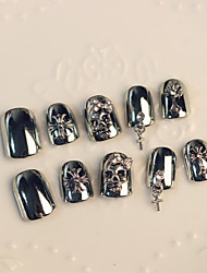 Nail Strips Skeleton Cross Pendant Fashion Punk Style 24Pcs/Set