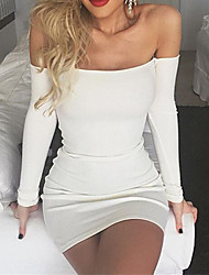 Women's Casual/Daily Sexy Sheath DressSolid Boat Neck Above Knee Long Sleeve White Cotton Fall /