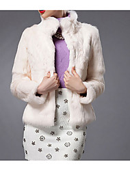 Women's Casual/Daily Simple Fur Coat,Solid Long Sleeve Winter Blue / Red / White Rabbit Fur