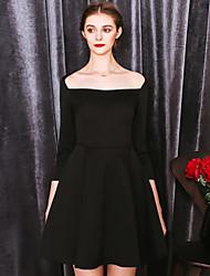 MASKED QUEEN Women's Formal Simple Little Black DressSolid Boat Neck Above Knee  Sleeve Black Polyester