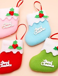 6Pcs/lot Christmas Tree Decoration Tree Ornament Christmas Socks Children's Gift Tiny Toy Party Decor(Style Random)
