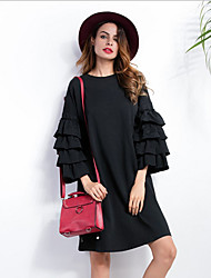Women's Going out / Casual/Daily Vintage Loose Dress,Solid Round Neck Knee-length ¾ Sleeve Black Cotton Fall / Winter Mid Rise Inelastic