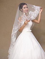 Véus de Noiva Uma Camada Véu Ruge Borda com aplicação de Renda Tule