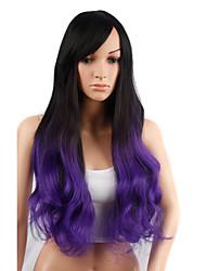 longue perruque de cheveux ondulés avec une frange perruques synthétiques noir et couleur pruple pour les femmes