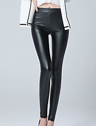 Women's Solid Black Fleece Lining Skinny Pants Sexy /Street chic Plus Size /Casual High Waist Fashion Winter PU Thick