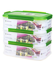 Durable Easy Lunch Boxes 3-Compatment Bento Lunch Container(2.3L*3P)