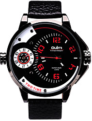 Oulm Men's Wrist watch Dual Time Zones Quartz Genuine Leather Band Cool Casual Luxury Black